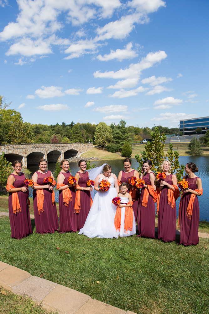 Fall wedding for Virginia Tech fans with a maroon and orange bridal party | Herndon, Virginia Wedding Venues