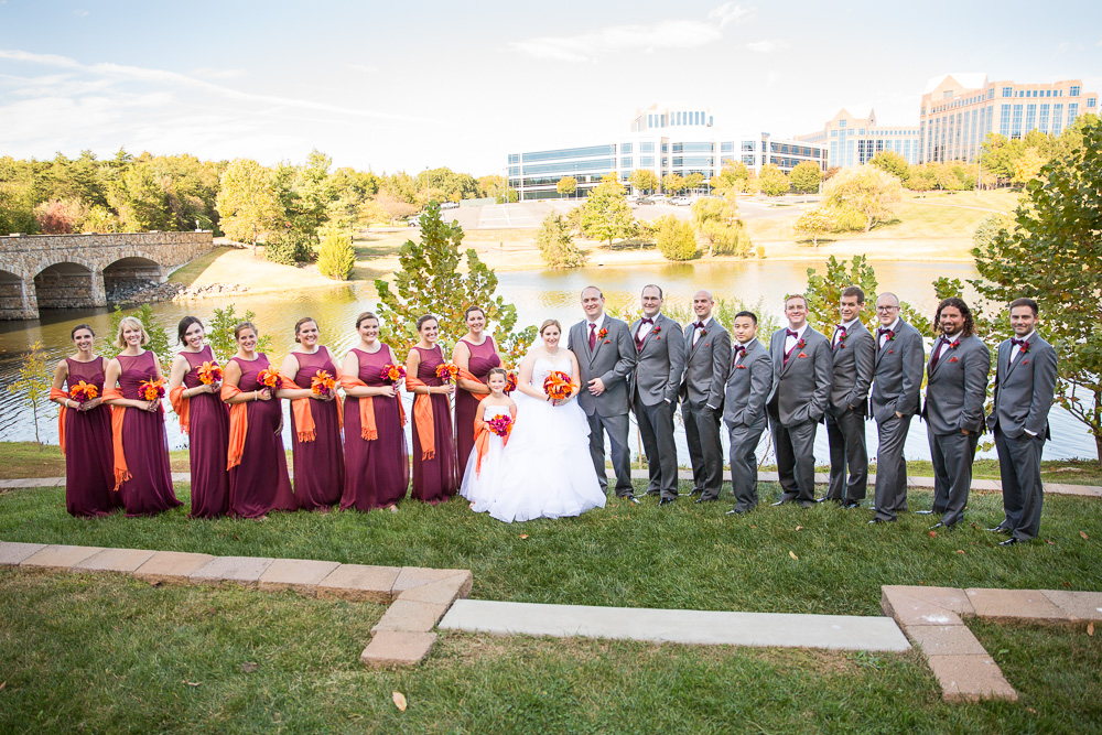 Bride and groom with their wedding party on a sunny day at the Westin Washington Dulles Airport Hotel