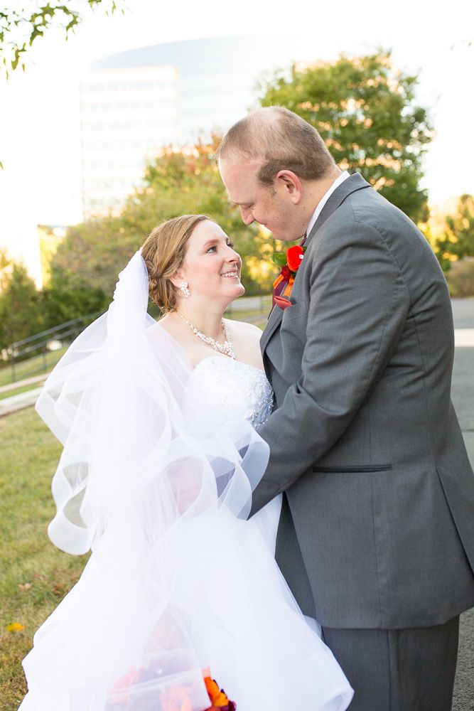 Bride and groom wedding portraits outside of the Westin Washington Dulles Hotel