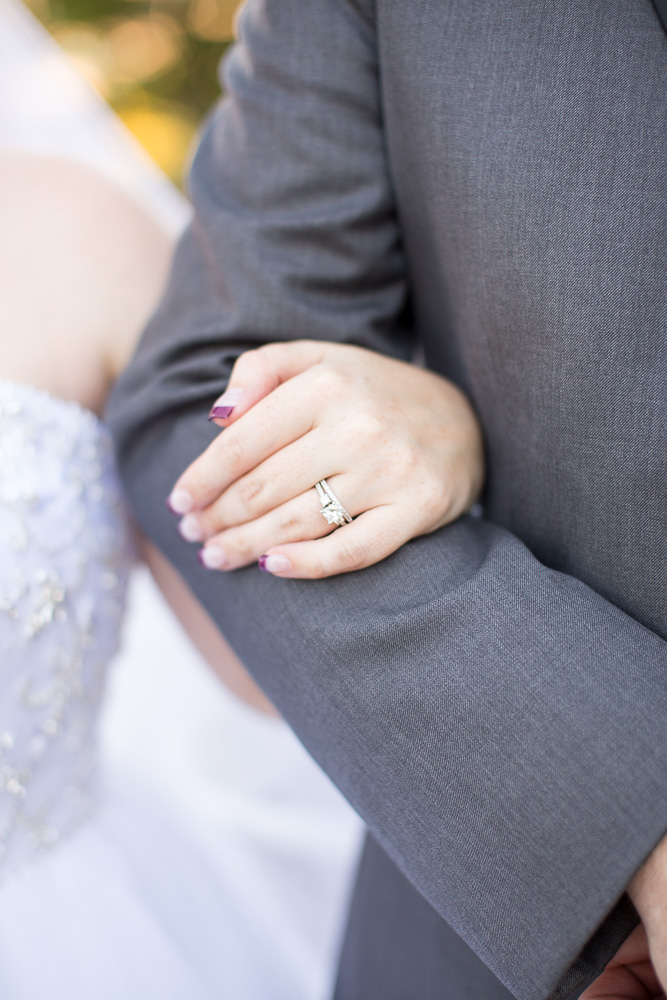 Close up photo of bride's rings