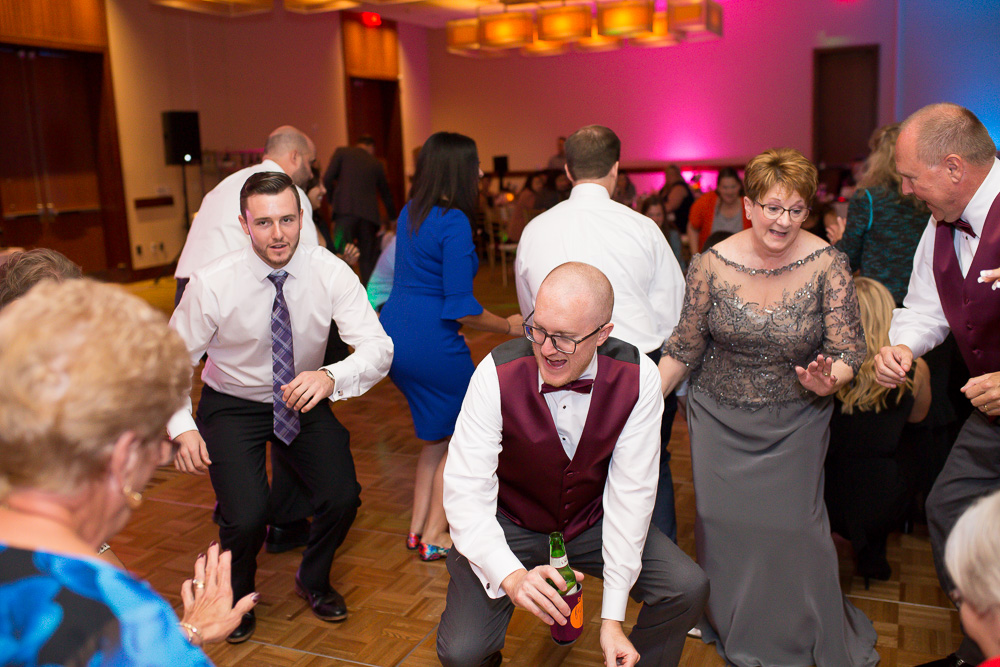 Fun picture of wedding guests dancing