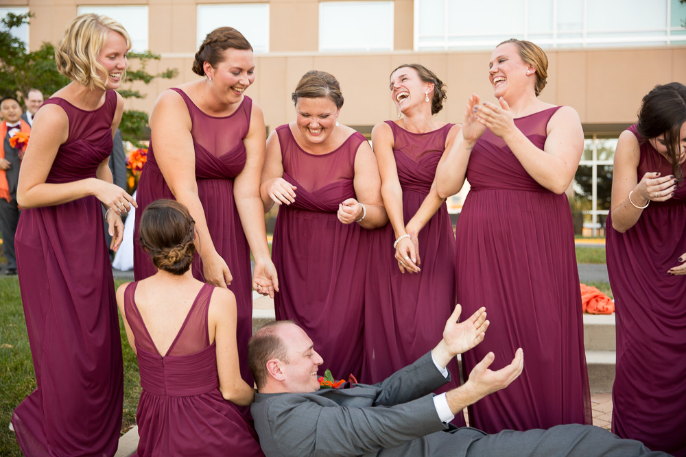 Bridesmaids not able to hold the groom up | Westin Washington Dulles Wedding Pictures
