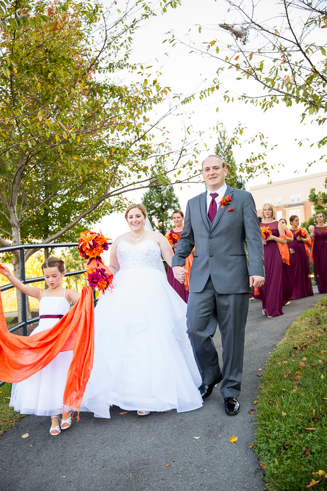 Wedding party walking down the path at the Westin | Herndon Virginia Wedding