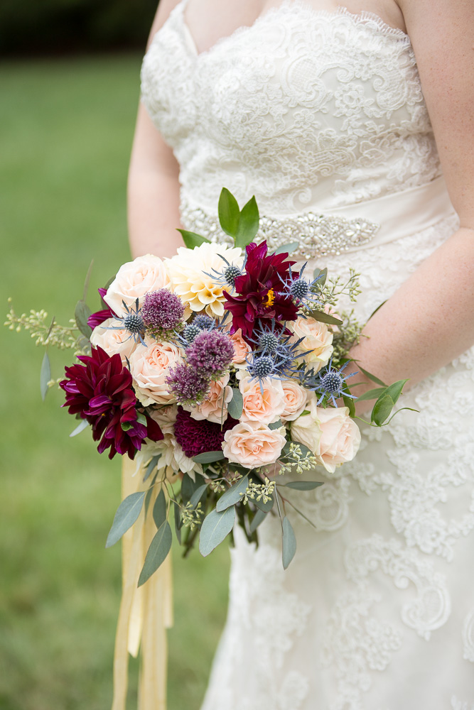 Gorgeous wedding bouquet with maroon, blush, and purple from The Arranger's Market in Richmond, Virginia | Richmond Wedding Florist