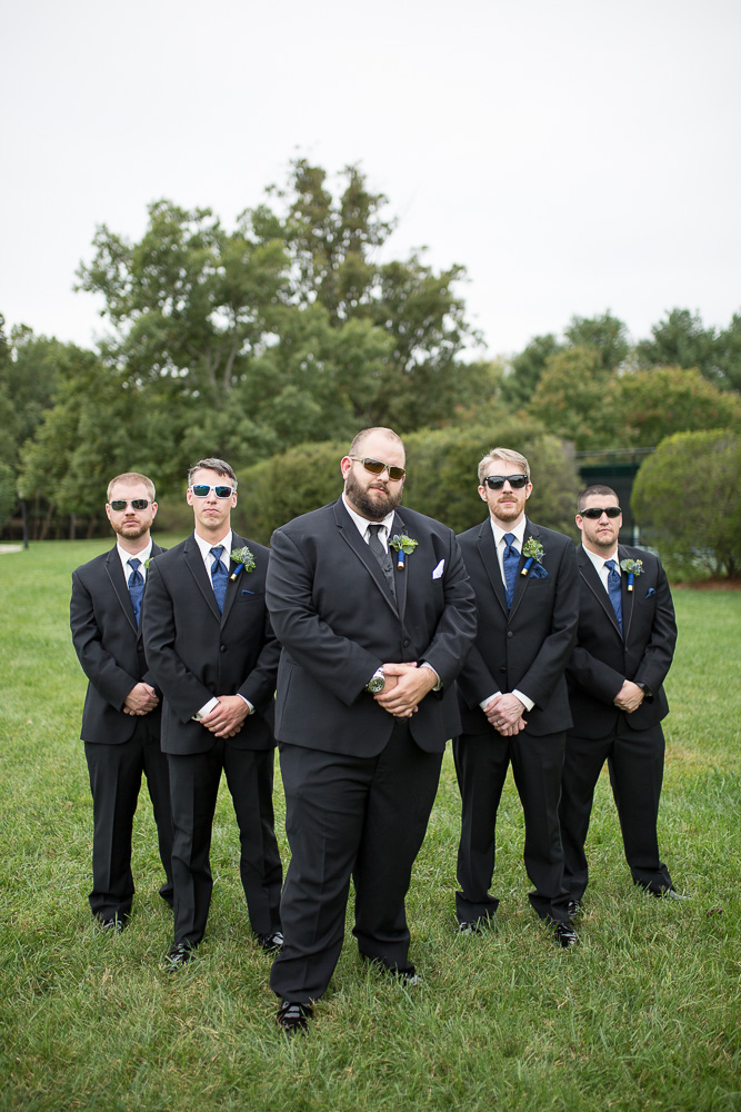 Groom and groomsmen posing with sunglasses at Fox Hall | Richmond Virginia Wedding