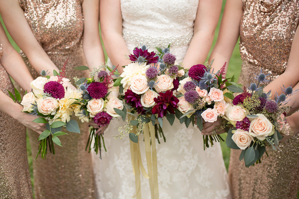 Beautiful maroon, blush, and gold wedding bouquets from The Arranger's Market | Richmond Virginia Wedding Florist | Megan Rei Photography