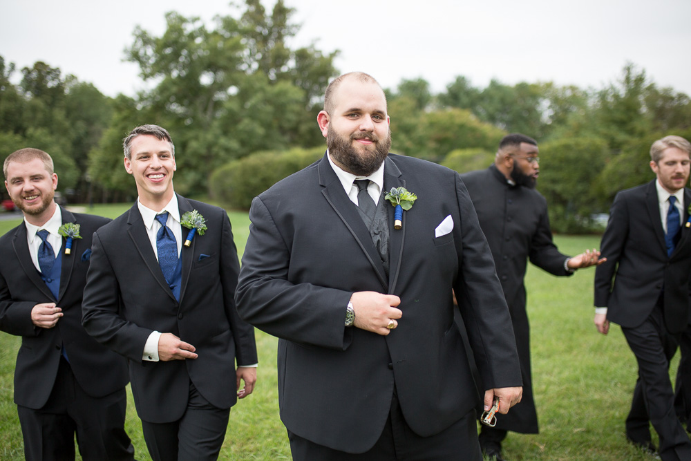 Groom and groomsmen wedding party photos at Fox Hall Clubhouse