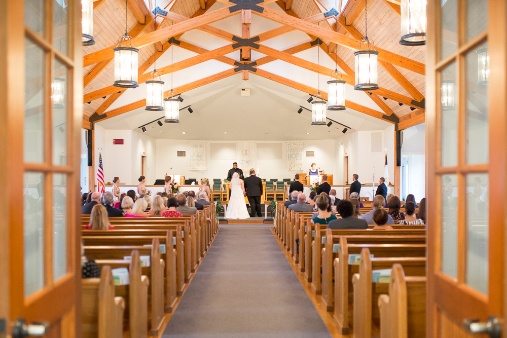 Wedding ceremony at Shady Grove Church in Glen Allen, Virginia