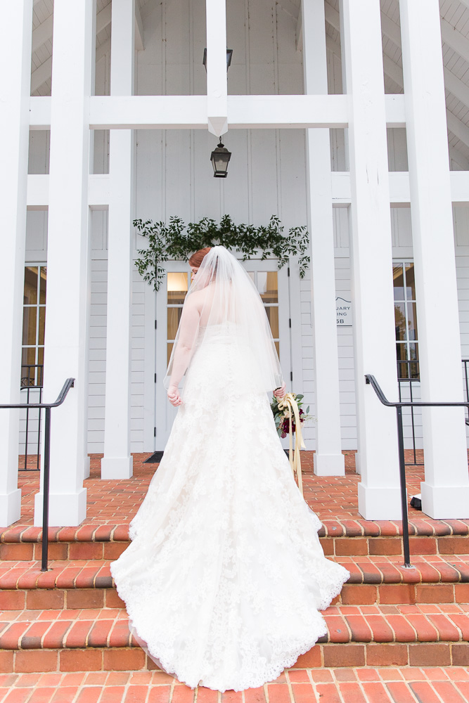 Bridal gown from The Castle Prom and Bridal on the steps of Shady Grove UMC - Short Pump