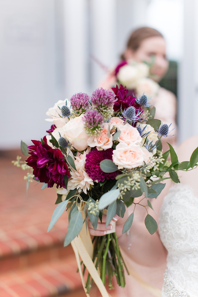 Maroon and blush bridal bouquet from The Arranger's Market, Richmond VA Florist
