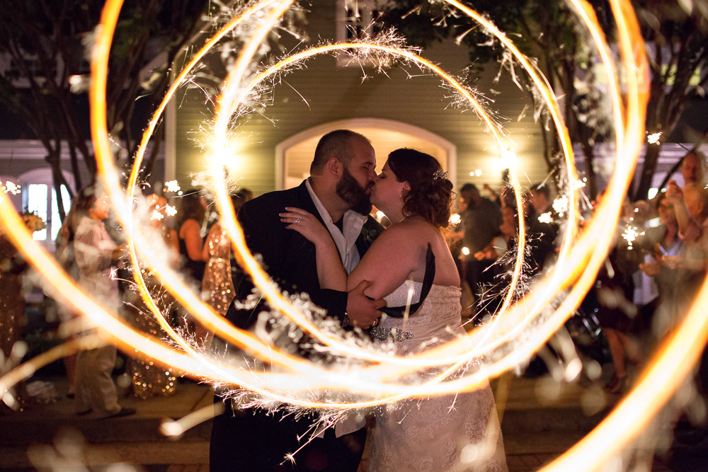 Sparkler exit from wedding venue at Fox Hall Clubhouse in Richmond, Virginia