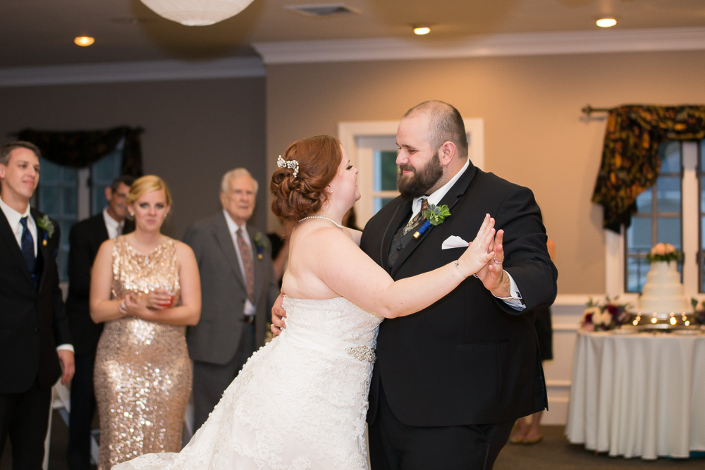 Bride and groom's first dance and the Fox Hall Clubhouse in Henrico, VA