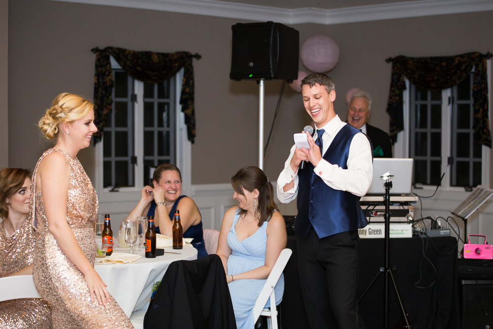 Best man giving his wedding speech during reception in Glen Allen, Virginia