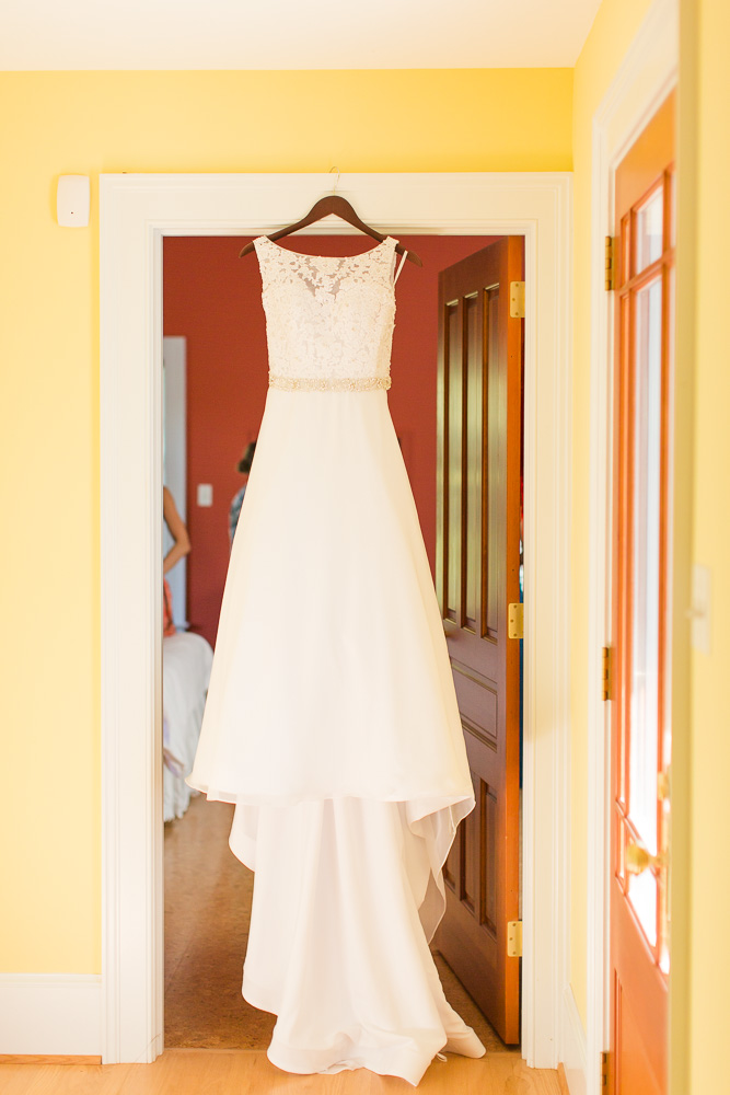 Wedding dress from The Bridal Boutique in Columbia, Maryland hanging in the bridal suite at Mountain Run Winery