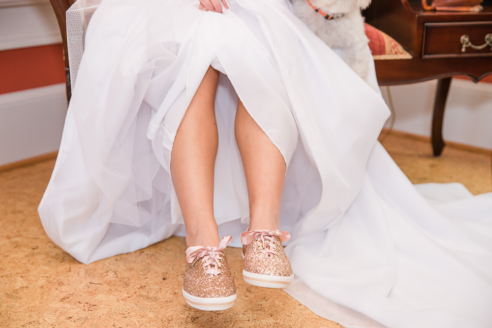 Sparkly gold wedding sneakers