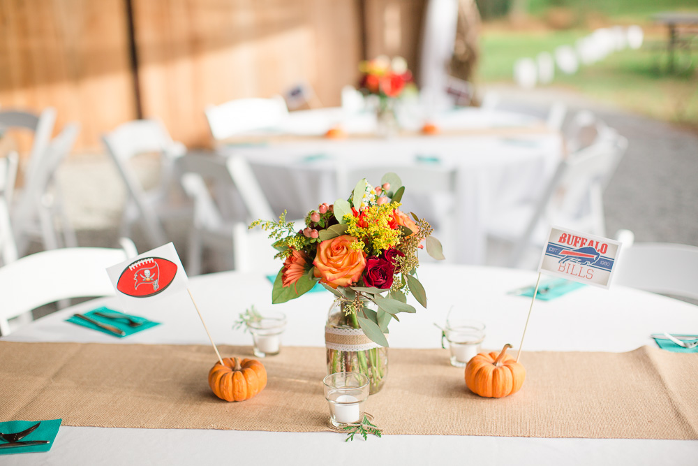 Football centerpieces at fall wedding in Northern Virginia