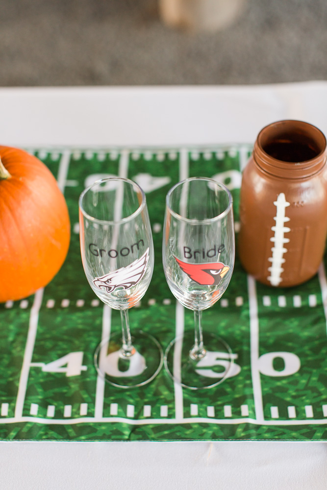 Football table runner for head table at wedding | Football champagne glasses