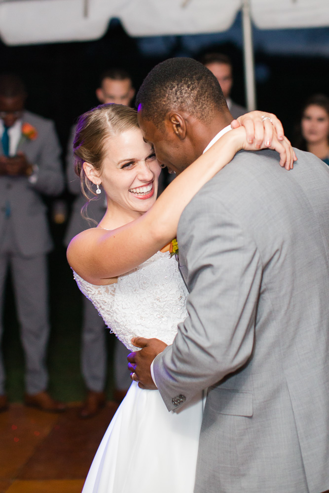 Smiling bride during the first dance | Candid Culpeper Wedding Photographer