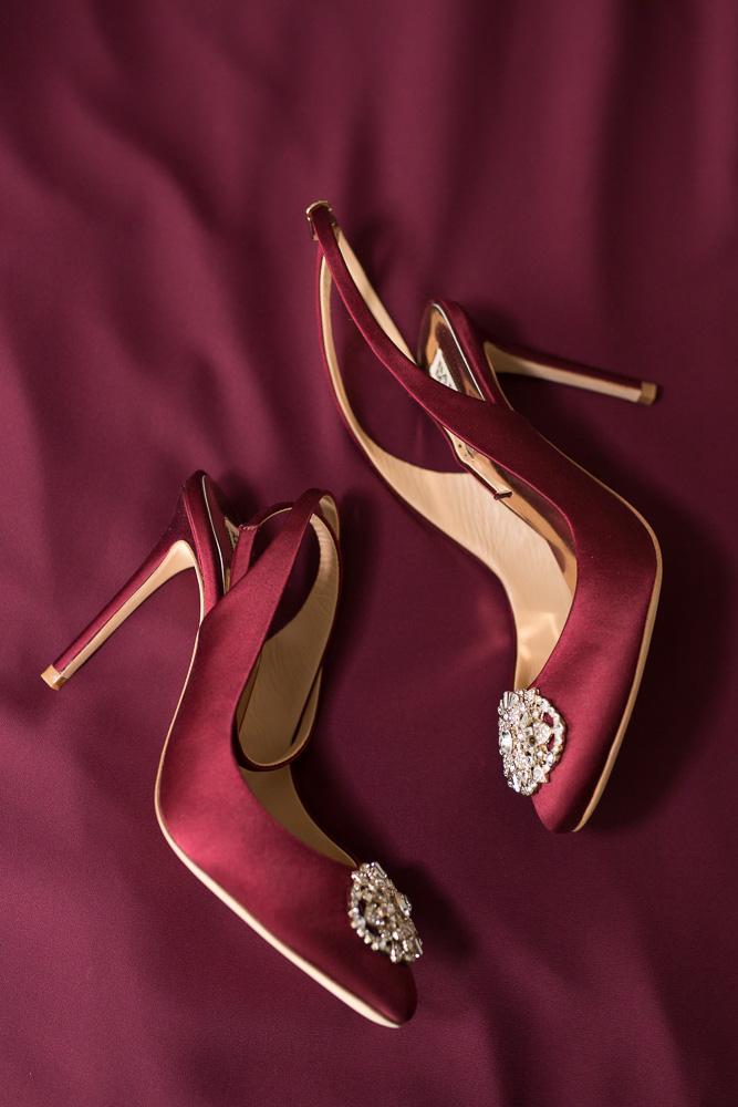 Burgundy Badgley Mischka wedding heels |The Strathallan wedding photography