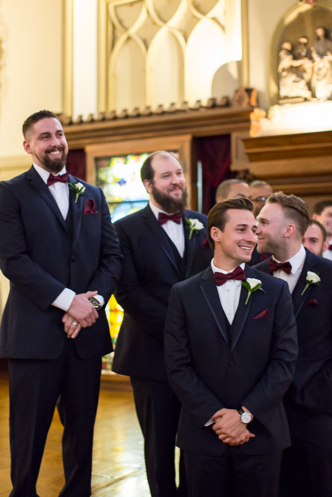 Groomsmen watching the bride walk down the aisle | Chapel Hill Wedding Photos | Rochester NY