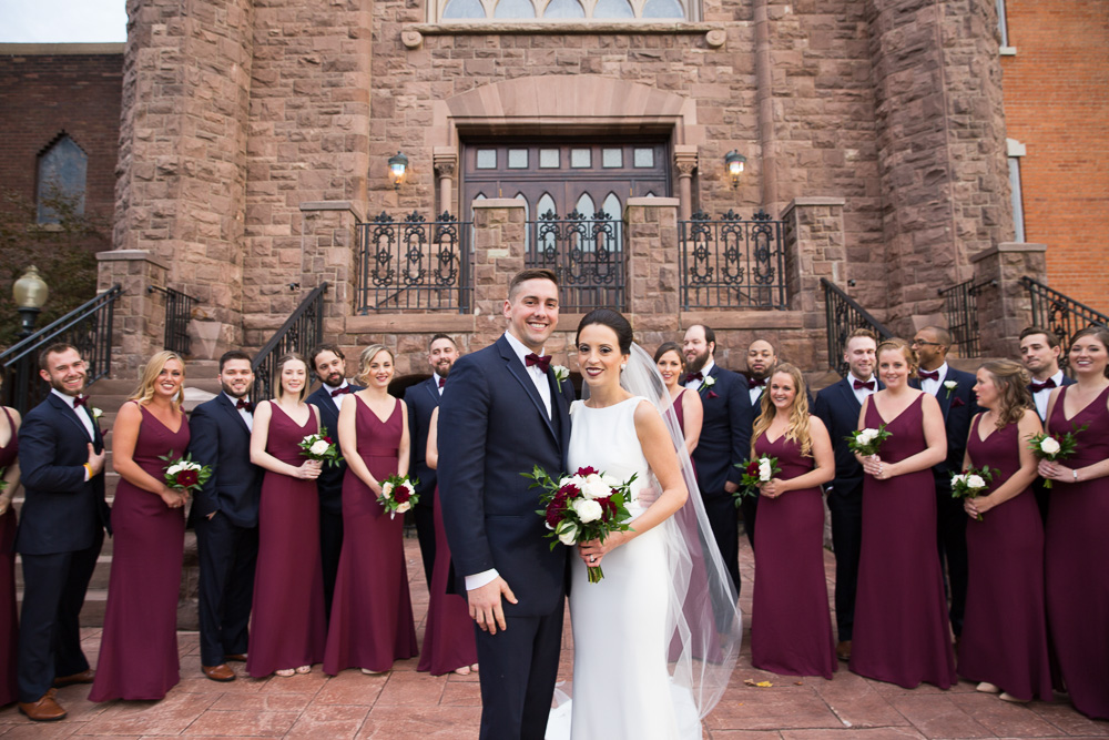 Navy and burgundy wedding party in front of Chapel Hill | Best Wedding Photographers in Rochester NY | Megan Rei Photography