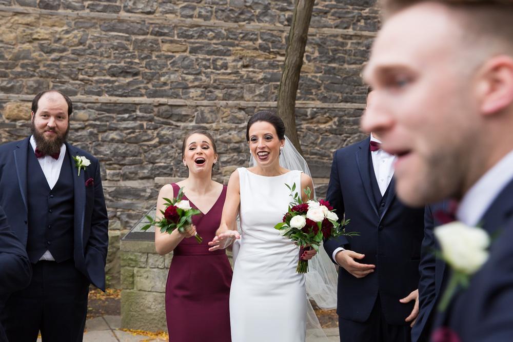 Fun wedding party photos at St. Joseph's Park, Rochester NY