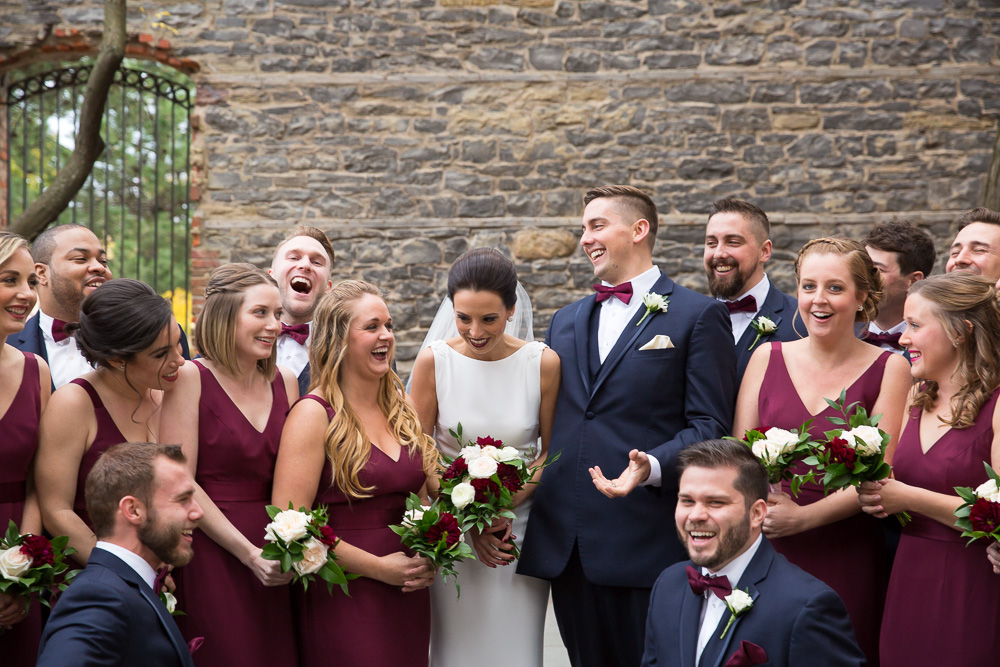 Candid wedding photography at St. Joseph's Park | Wedding photo locations in Rochester, NY | Navy and Maroon Wedding | Megan Rei Photography