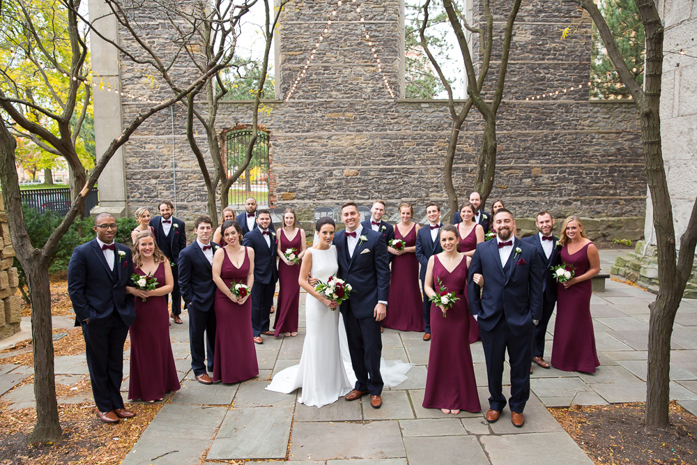 Best places in Rochester, NY for wedding photos | St. Joseph's Park | Megan Rei Photography | Navy and Burgundy Fall Wedding