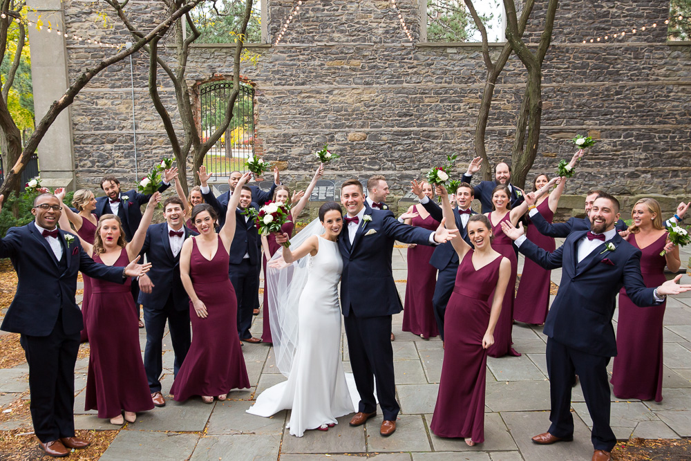 Wedding party photos at St. Joseph's Park in Rochester, NY | Navy and burgundy wedding colors | Megan Rei Photography