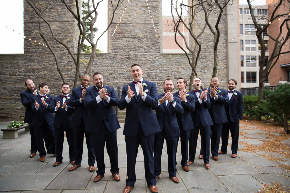 Funny groomsmen photo | Mighty Ducks and the Flying V | Candid Wedding Photographer in Rochester, NY | Navy suits by Joseph Abboud at Men's Wearhouse