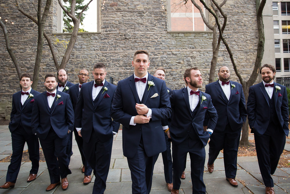 Groom and groomsmen in navy suits from Men's Wearhouse, Rochester NY