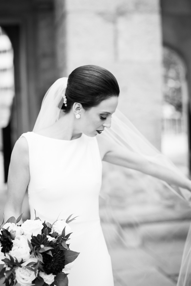 Classic bridal portrait in black and white | St. Joseph's Park, Rochester NY | Bridal hair and Makeup by Polished Salon