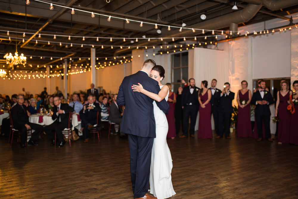 First dance with twinkle lights at Arbor Loft | Best Rochester Wedding Venues | Megan Rei Photography