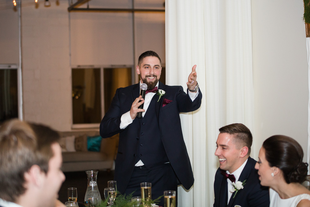 Best man toast at Arbor Loft | Rochester, NY Wedding