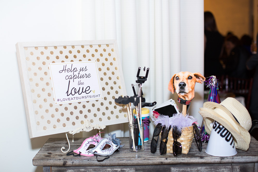 Wedding photobooth props, including the wedding couple's dog! | Rochester Wedding Photographer