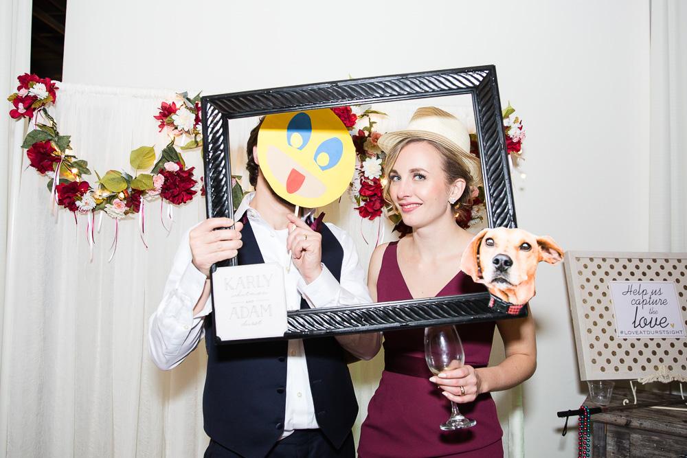 Wedding photobooth photos with the wedding dog | Rochester NY Wedding at Arbor Loft