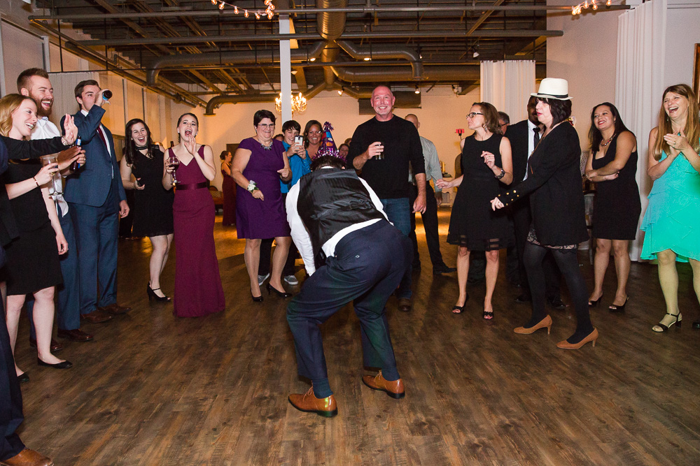 Having fun on the dance floor at Arbor Loft | Candid Wedding Photographer in Rochester, NY | Megan Rei Photography