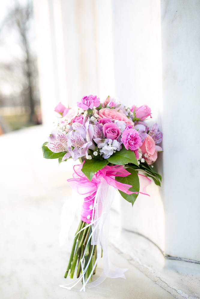 Bridal bouquet by Twin Towers Florist | Washington, DC Wedding at the DC War Memorial