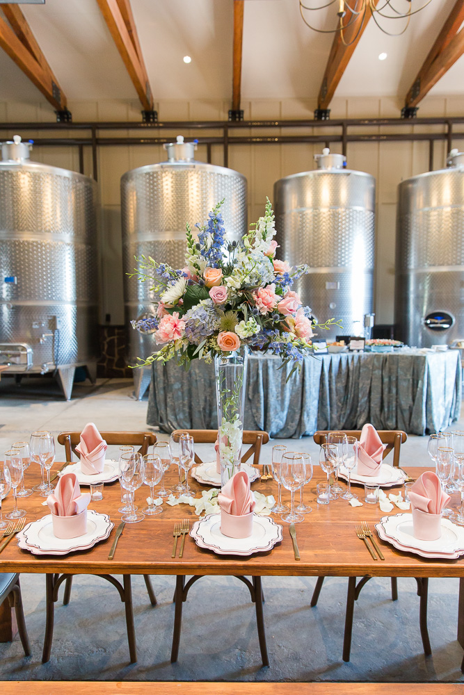 New wedding venue at The Winery at Bull Run | Tank Room in the Production Barn | Flowers by Flower Gallery of Manassas