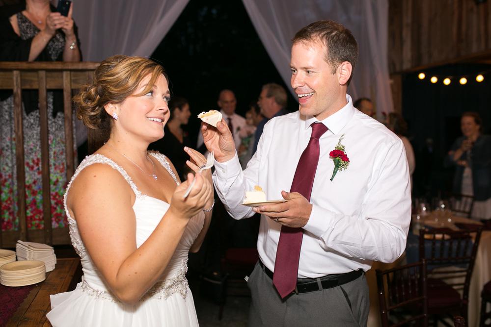 Cutting the cake during wedding reception in Culpeper, Virginia