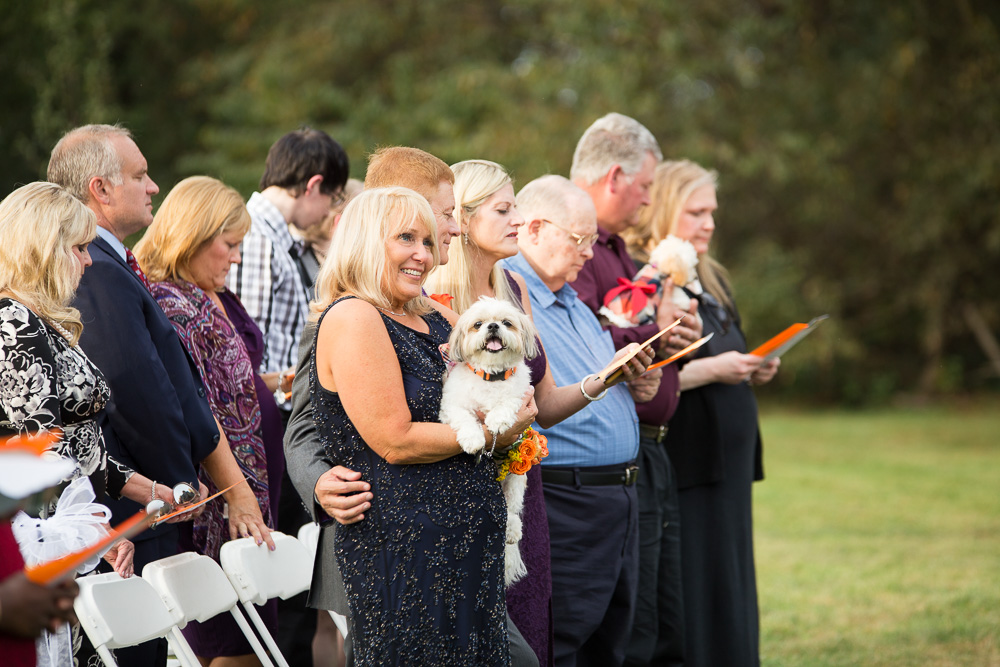 Dog watching the wedding ceremony of his parents | Culpeper Dog Photographer