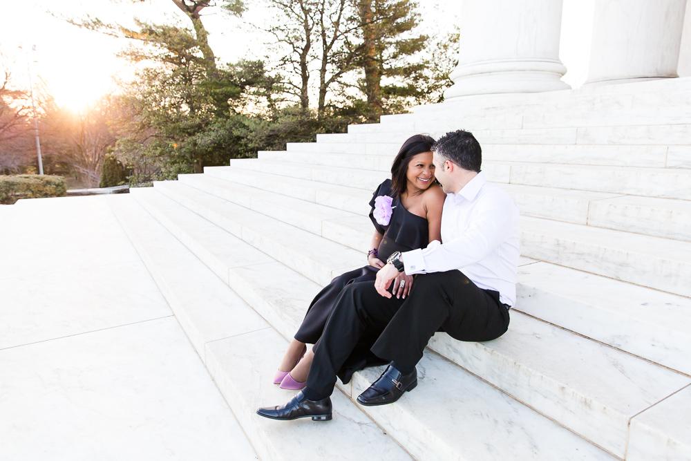 Sitting on the steps of the Jefferson Memorial | Washington DC Maternity Photos | Megan Rei Photography