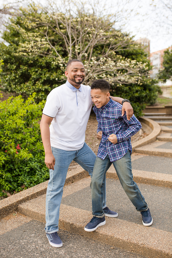 Father and son goofing around on the steps at Meridian Hill Park | Family Photography in DC