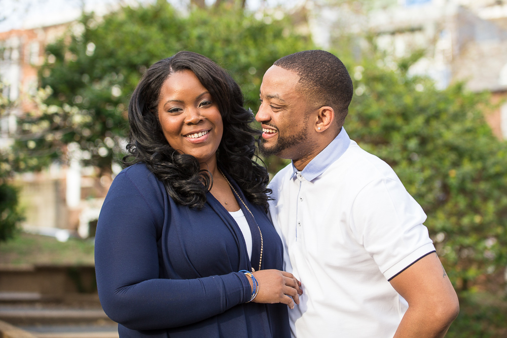 Cute couple laughing in Meridian Hill Park | Candid DC Engagement Photographer