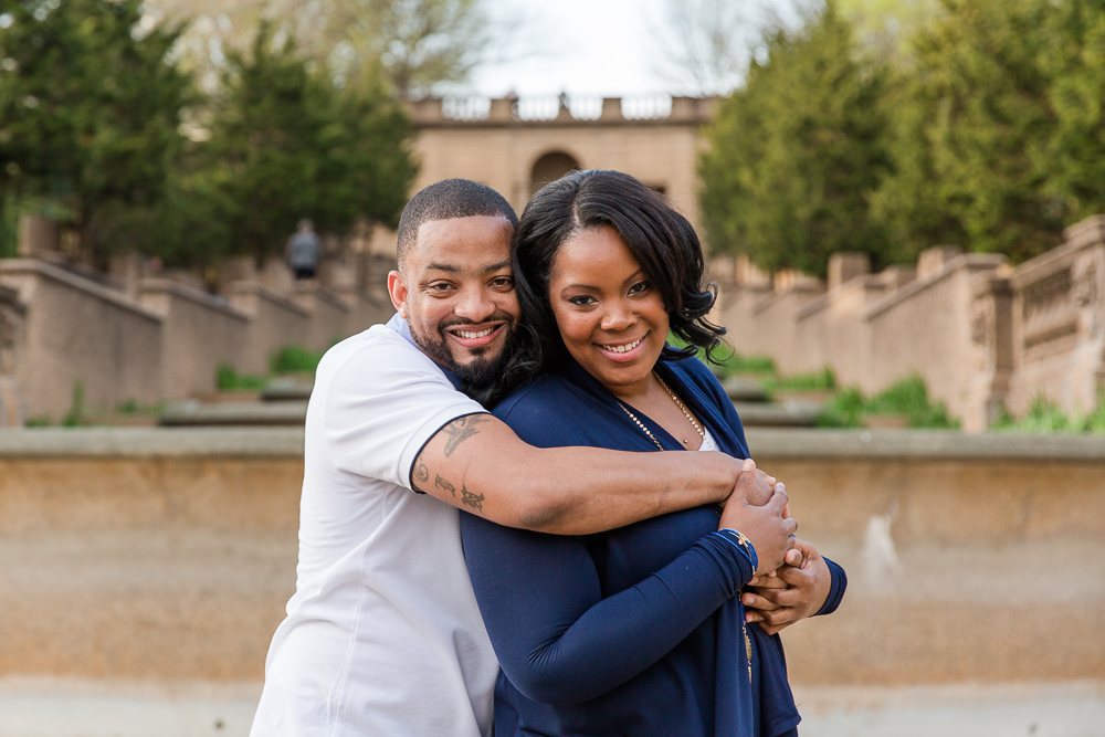 Before the proposal, hugging in front of the Meridian Hill Park fountain | Best Washington DC Engagement Locations