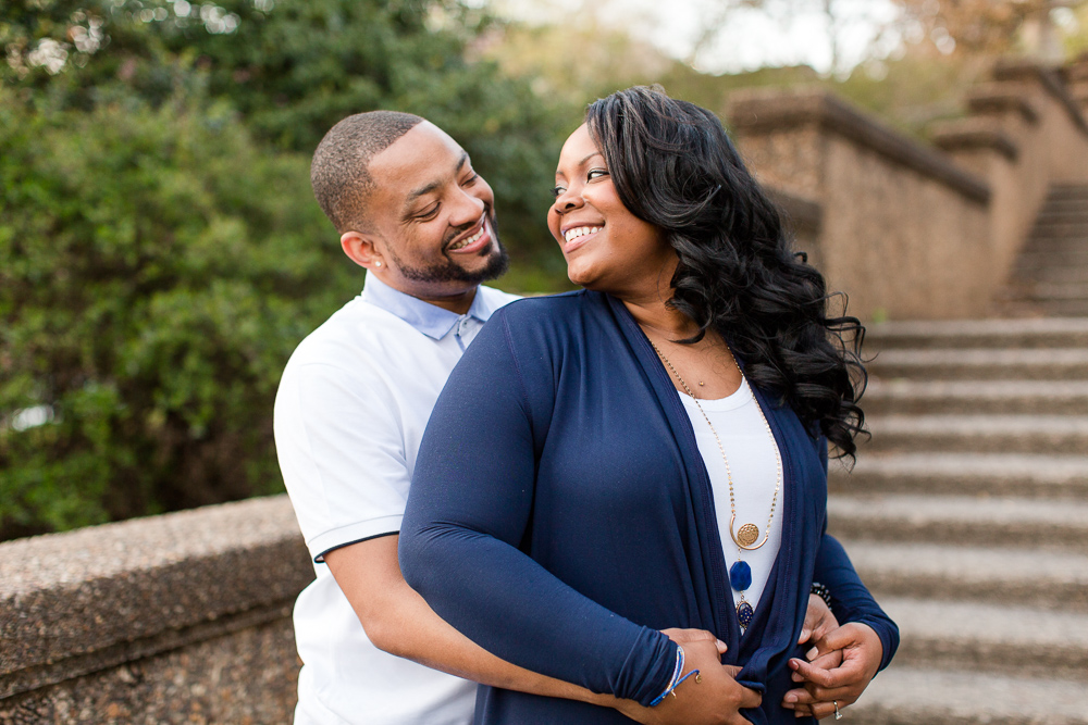 Engagement picture on the steps at Meridian Hill Park | Best Engagement Photo Locations in Washington, DC