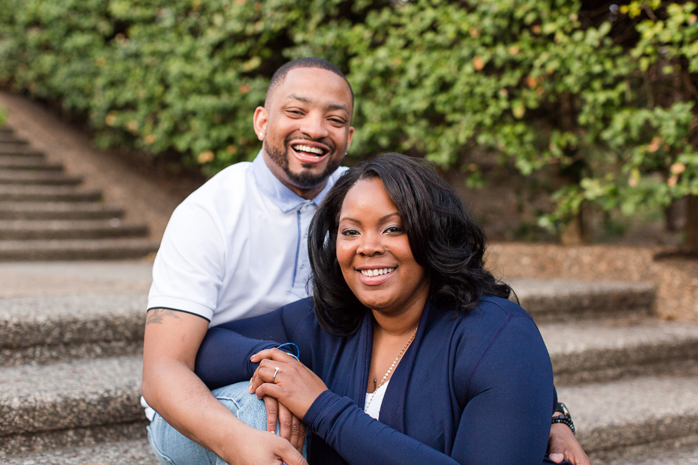 Newly engaged couple on the staircase of Meridian Hill Park | Best Places for Engagement Pictures in Washington, DC