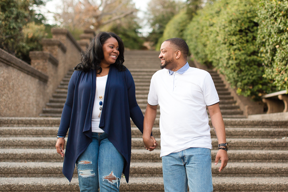 Walking down the big staircase at Meridian Hill Park in Washington, DC | Best Places for Engagement Pictures in DC | Megan Rei Photography