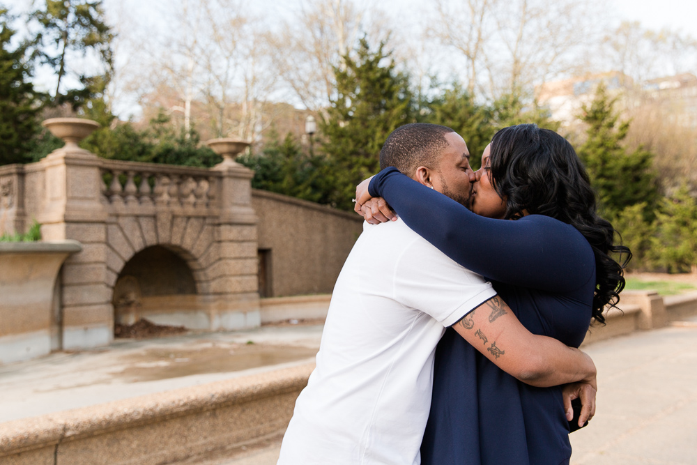 Sharing a kiss in front of the steps at Meridian Hill Park | Best Places to Propose in Washington, DC