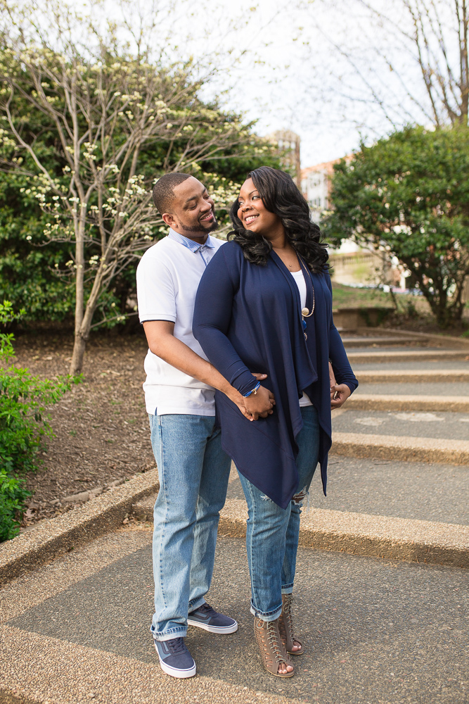Engagement pictures on the path at Meridian Hill